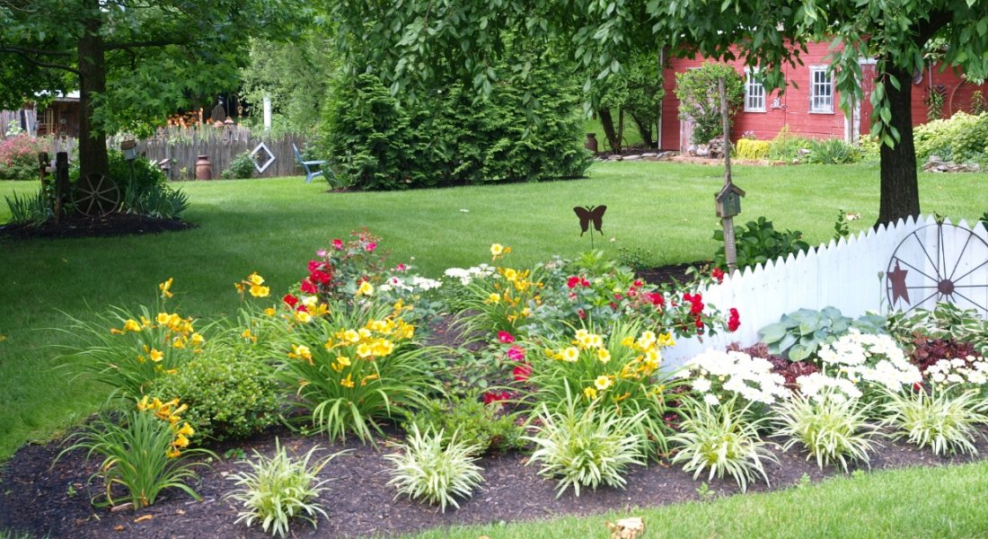 flower bed in bloom with white fence