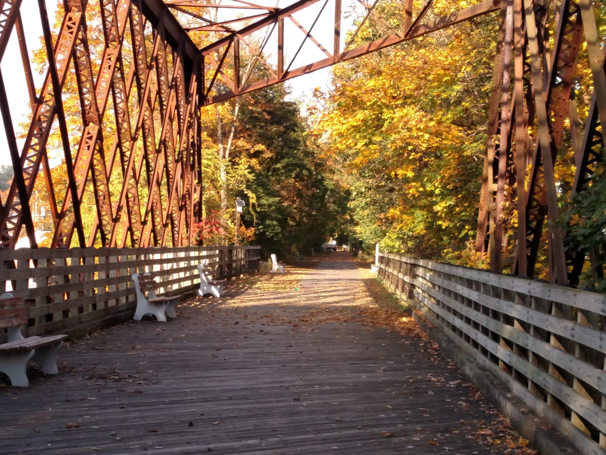 Covered bridge near Hershey PA surrounded by trees in the fall