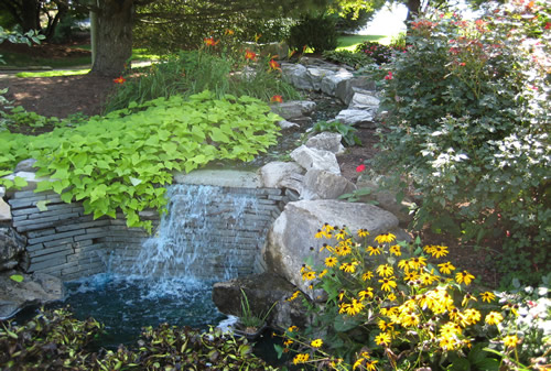 Photo of waterfall with flowers and plants at Challenge Family Fun Center