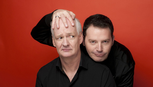 Color photo of comedians Colin Mochrie and Brad Sherwood