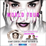 Tour poster for Demi Lovato's World Tour, depicting Demi holding her face in her hands along with headliners Christina Perri and MKTO.