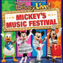 Colorful banner of Disney characters for Mickey's Music Festival!