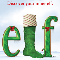 Red and green banner for Elf The Musical with a Christmas stocking and red bows