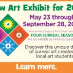Colorful banner to announce the opening of Four Surreal Seasons Art Exhibit at Hershey Gardens