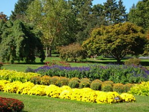 Beautiful color photo of a section of Hershey Gardens with lots of colorful flowers and trees
