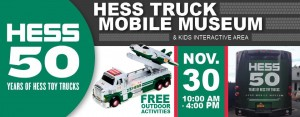 Photo banner of the Hess Truck Mobile Museum at the AACA Museum, featuring Hess trucks from the past