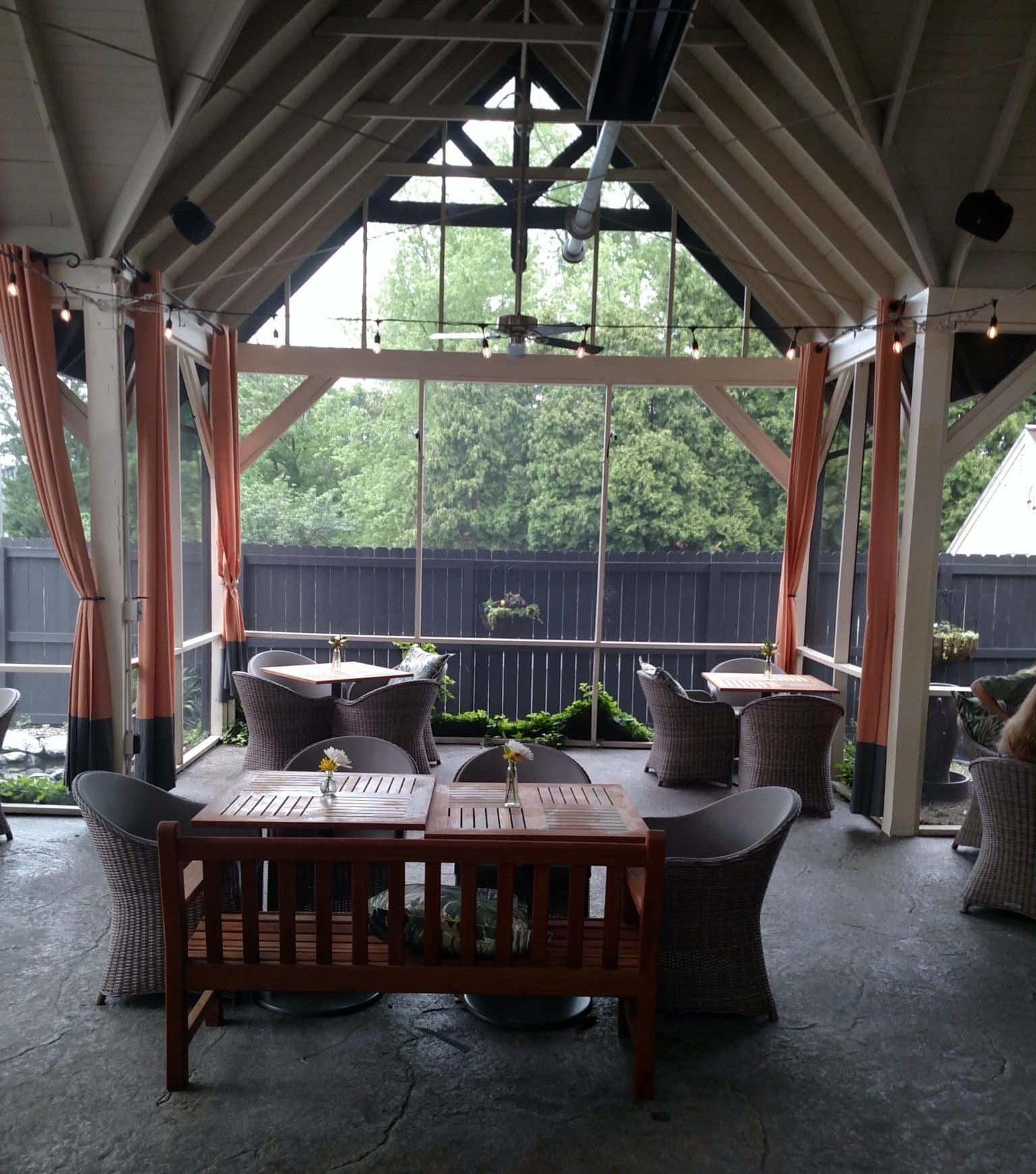 covered porch showing tables and chairs