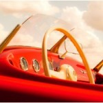 Photograph red car dashboard with blue sky and clouds