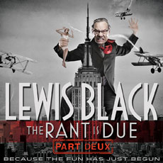 Ad for Comedian Lewis Black in black, white and red depicting Lewis as King Kong with Empire State Building and airplanes circling
