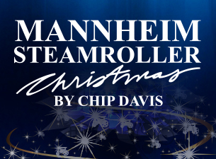 Advertisement for Mannheim Steamrollers Christmas by Chip Davis with dark blue background