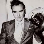 Black and white photo of recording artist Morrissey