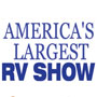 America's Largest RV Show in blue letters on white background
