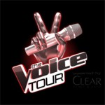 Depiction of a hand with two fingers up for victory holding a microphone and announcing the Voice Tour