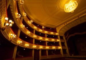 Photo of theatre boxes and ceiling