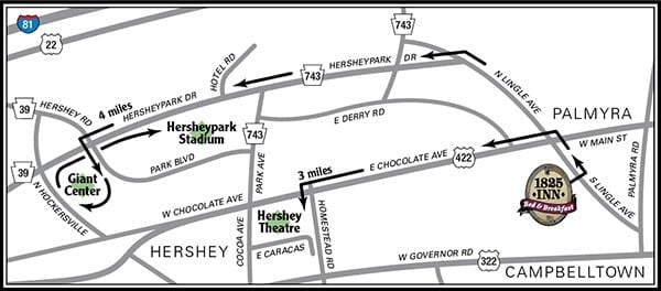 map from 1825 inn to Giant Center, Hersheypark Stadium, and Hershey Theatre