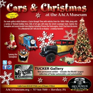 Cars & Christmas banner for the AACA Museum with picture of Christmas tree, car, train.