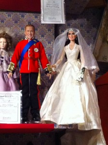 Color photo of Prince William and Kate Middleton dolls