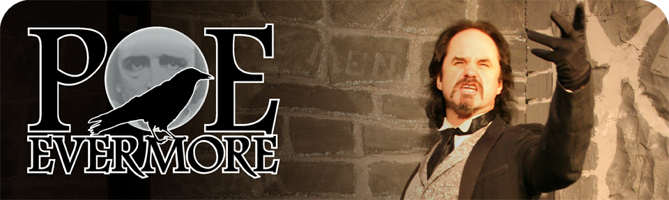 Banner for Poe Evermore photo showing animated actor.  Also a logo with a raven and a full moon.