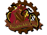 Brown, Red and yellow graphic of the Swashbuckler Cross logo
